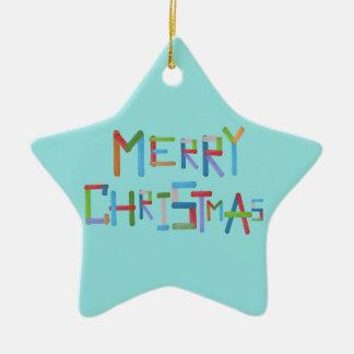 Merry Christmas Ceramic Star Decoration