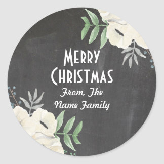 Merry Christmas Chalk Rustic Floral Xmas Sticker