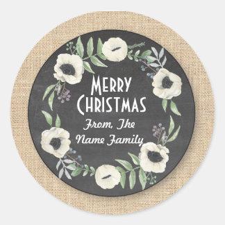 Merry Christmas Chalk Rustic Flower Wreath Sticker