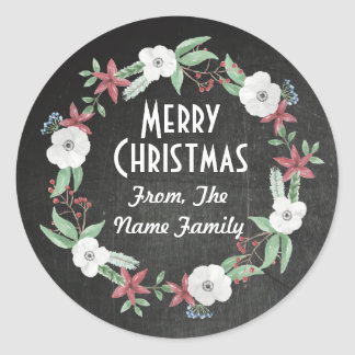 Merry Christmas Chalk Rustic Flower Wreath Sticker