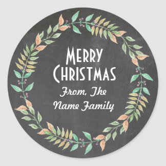 Merry Christmas Chalk Rustic Leaf Wreath Sticker
