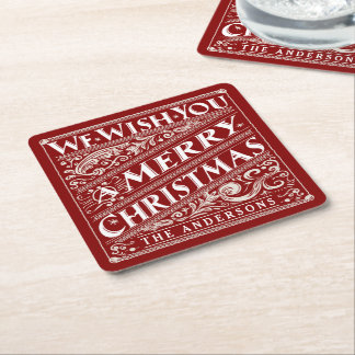 MERRY CHRISTMAS CHALKBOARD CUSTOM COASTERS SQUARE PAPER COASTER
