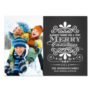 Merry Christmas Chalkboard Holiday Photo Flat 11 Cm X 16 Cm Invitation Card
