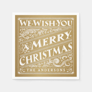 MERRY CHRISTMAS CHALKBOARD PERSONALIZED NAPKINS DISPOSABLE SERVIETTE