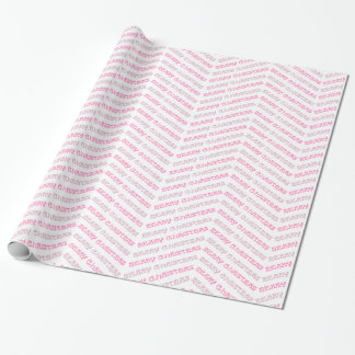 Merry Christmas Chevron Zigzags in Shades of Pink Wrapping Paper