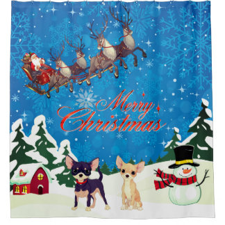 Merry Christmas Chihuahua With Santa Shower Curtain