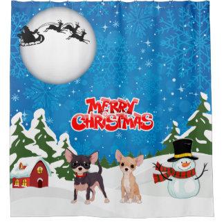Merry Christmas Chihuahuas Shower Curtain
