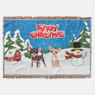 Merry Christmas Chihuahuas Throw Blanket