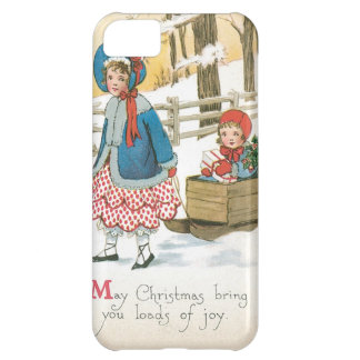 Merry Christmas, Children in a Wooden Sleigh Case For iPhone 5C