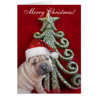 Merry Christmas Chinese shar pei puppy Greeting Card