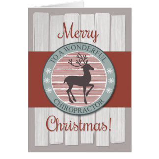 Merry Christmas Chiropractor with Rustic Reindeer Greeting Card