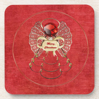 Merry Christmas - Christmas Angel - Red Beverage Coasters