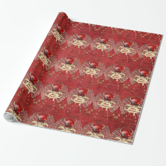 Merry Christmas - Christmas Angel - Red Wrapping Paper