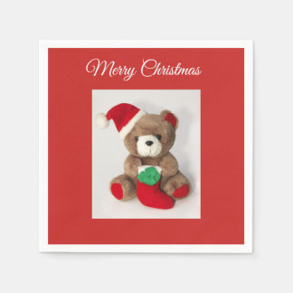 """Merry Christmas"" Christmas bear cocktail napkins Disposable Napkins"