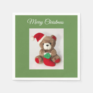 """Merry Christmas"" Christmas bear cocktail napkins Disposable Serviette"
