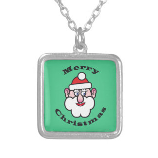 Merry Christmas, Christmas Santa Claus Silver Plated Necklace