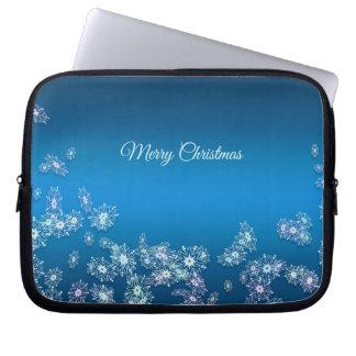 Merry Christmas. Christmas  snowflakes texture. Laptop Sleeve