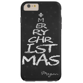MERRY CHRISTMAS Christmas Tree chalkboard monogram Tough iPhone 6 Plus Case
