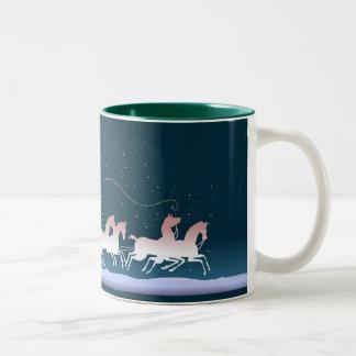 MERRY CHRISTMAS COACH & HORSES by SHARON SHARPE Two-Tone Coffee Mug