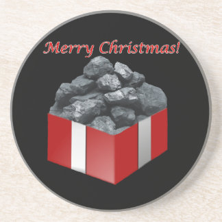 Merry Christmas Coal Present Drink Coaster