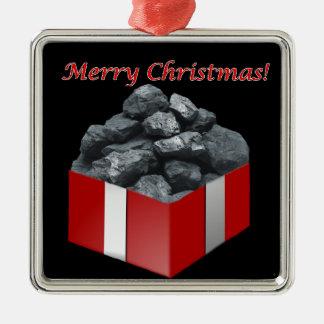 Merry Christmas Coal Present Metal Ornament