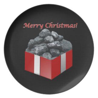 Merry Christmas Coal Present Plate