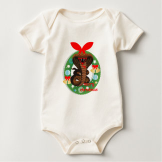 merry christmas cobra snake baby bodysuit