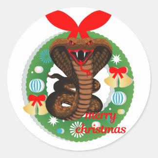 merry christmas cobra snake classic round sticker