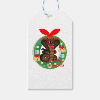 merry christmas cobra snake gift tags