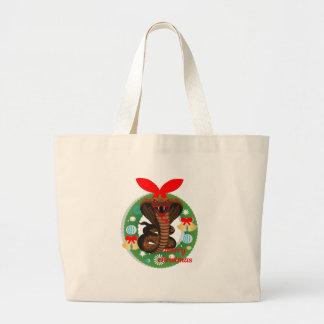 merry christmas cobra snake large tote bag