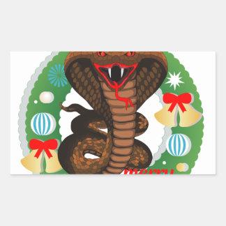 merry christmas cobra snake rectangular sticker