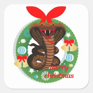 merry christmas cobra snake square sticker