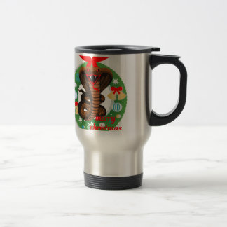 merry christmas cobra snake travel mug