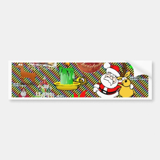 Merry Christmas Collage Bumper Stickers