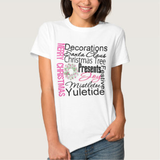 Merry Christmas Collage Pink Wreath T Shirts