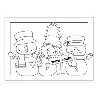 Merry Christmas color me card (snowmen) Postcard