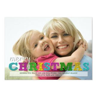 Merry Christmas Colorful Christmas Photo Card 13 Cm X 18 Cm Invitation Card
