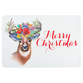 Merry Christmas | Colorful Holiday Reindeer Floor Mat