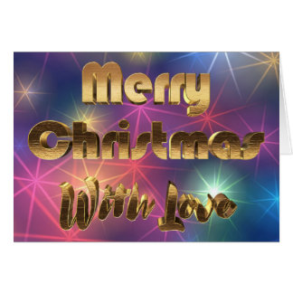 Merry Christmas Colorful Stars Gold Typography Card