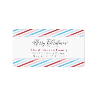 Merry Christmas colorful stripes address label