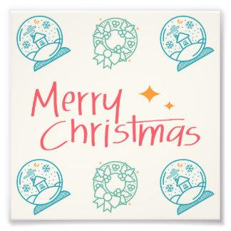 Merry Christmas Colorful Symbols Seamless Pattern Art Photo