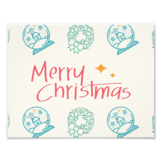 Merry Christmas Colorful Symbols Seamless Pattern Photographic Print