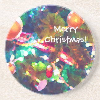 Merry Christmas Colorful Tree Lights Oil Coaster