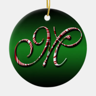 Merry Christmas Colours Green Red White Letter M Round Ceramic Decoration