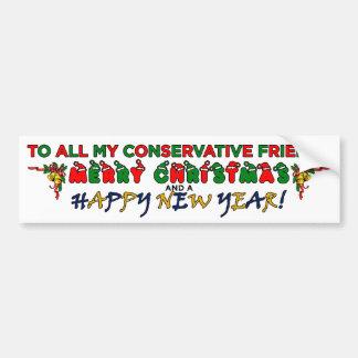 Merry Christmas Conservative Friend Bumper Sticker
