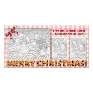 Merry Christmas Cookies Plaid Tablecloth All Red Photo Greeting Card
