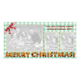 Merry Christmas Cookies Plaid Tablecloth Photo Card Template