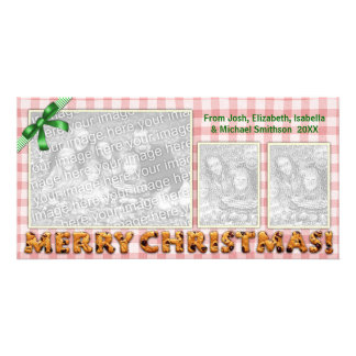 Merry Christmas Cookies Plaid Tablecloth Red Personalized Photo Card