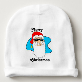 Merry Christmas Cool Santa In Sunglasses Baby Beanie