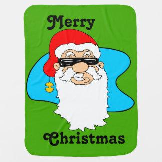 Merry Christmas Cool Santa In Sunglasses Baby Blanket